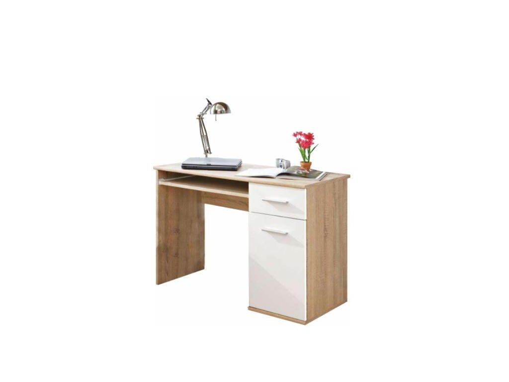 PC stôl, dub sonoma / biela, EMIO Typ 6