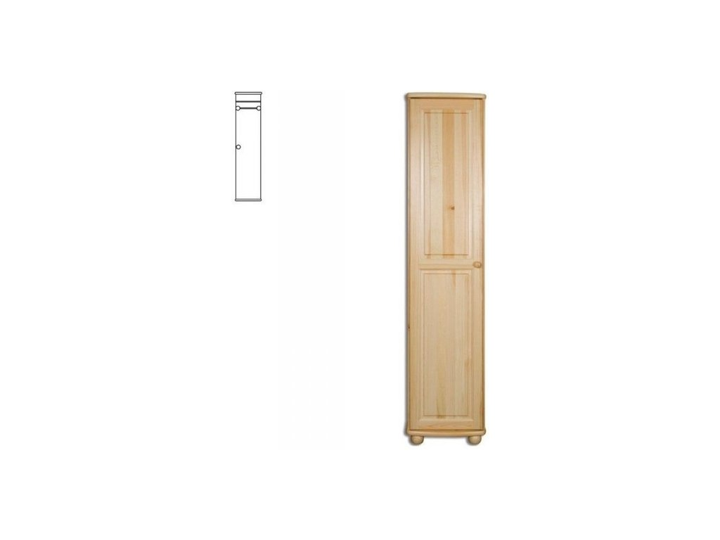 Úzka drevená šatníková skriňa KIK 112 borovica masív
