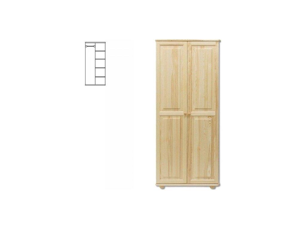 Kombinovaná drevená šatníková skriňa KIK 104 borovica masív