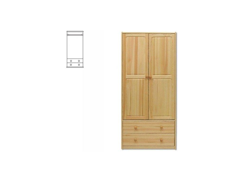 Drevená šatníková skriňa KIK 111 borovica masív
