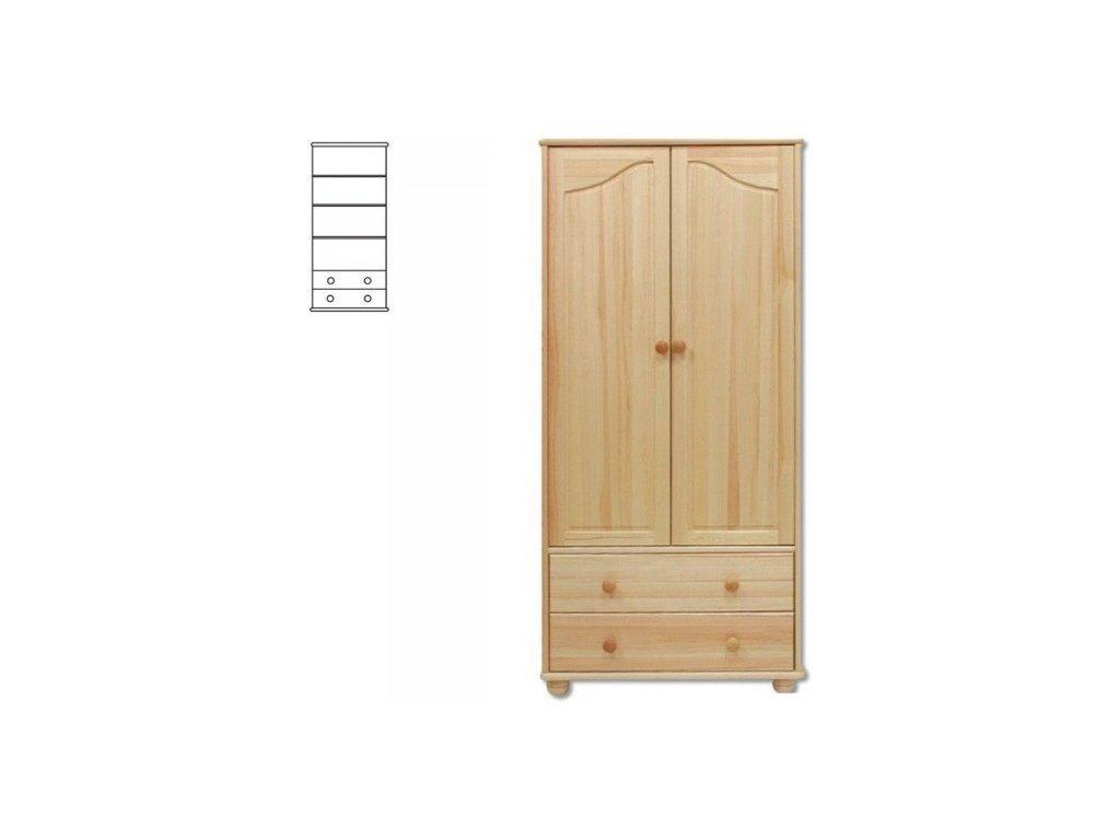 Drevená šatníková skriňa -2 zásuvky KIK 114 borovica masív