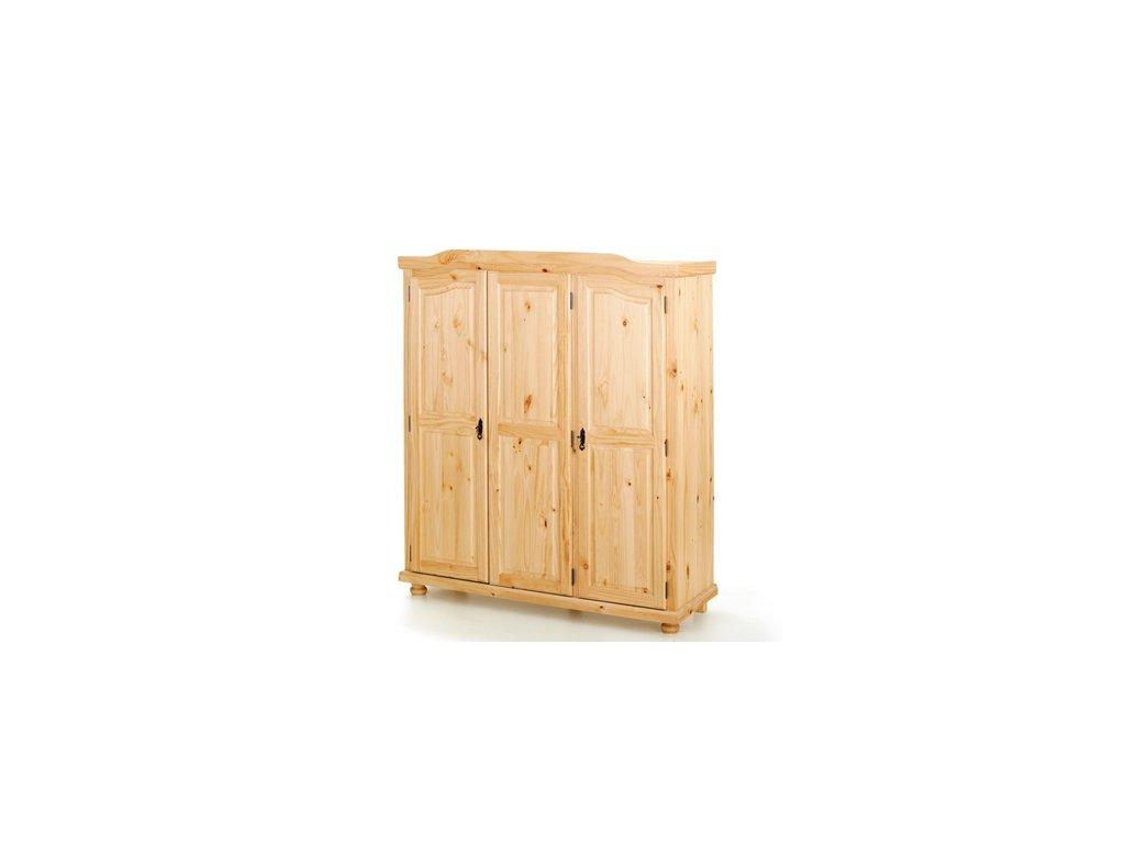 Šatníková skriňa BERN trojdverová -borovice masív lakovaná