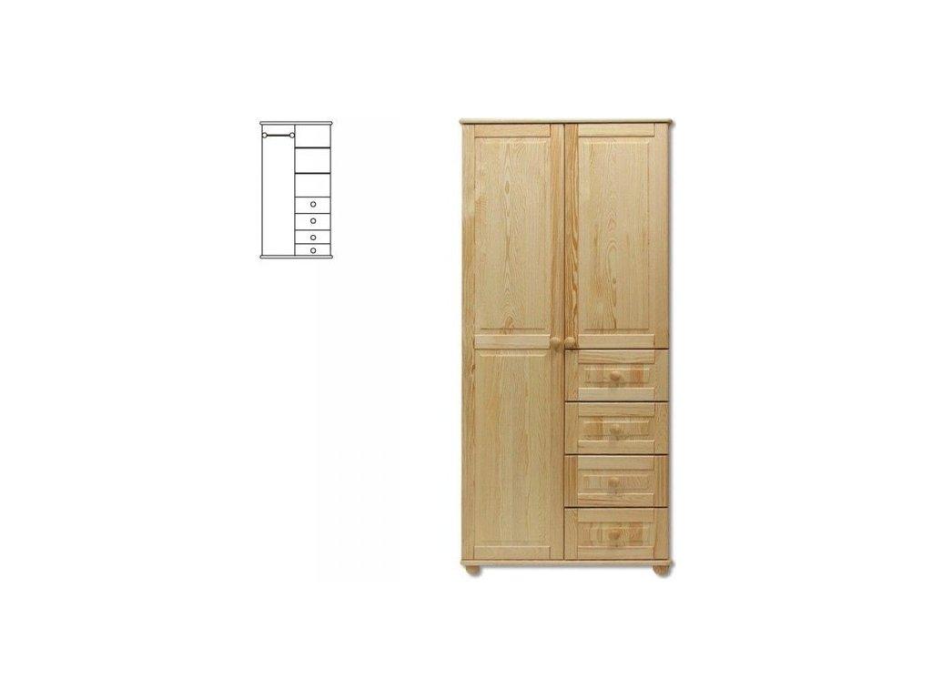 Masívna drevená šatníková skriňa KIK 109 borovica masív
