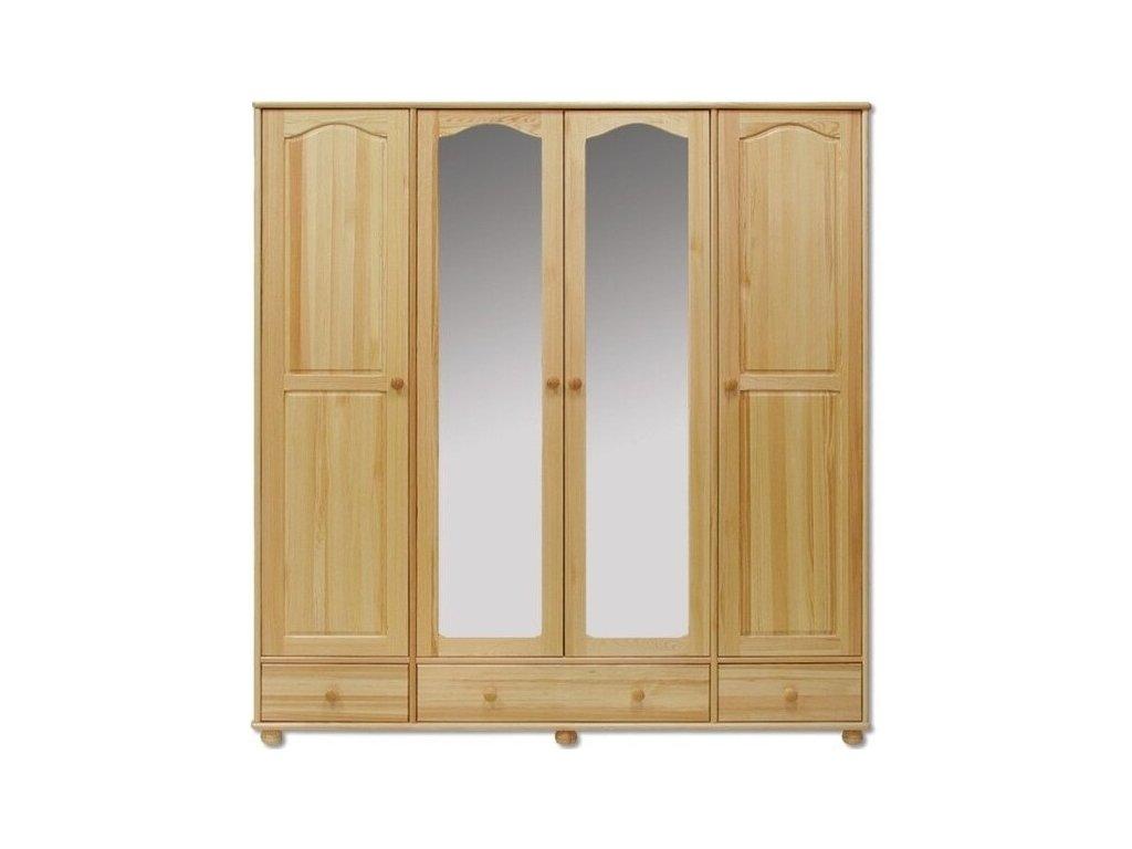 Šatníková skřín KIK 120- 4 dverový so zrkadlom +3 šuplíky borovica masív