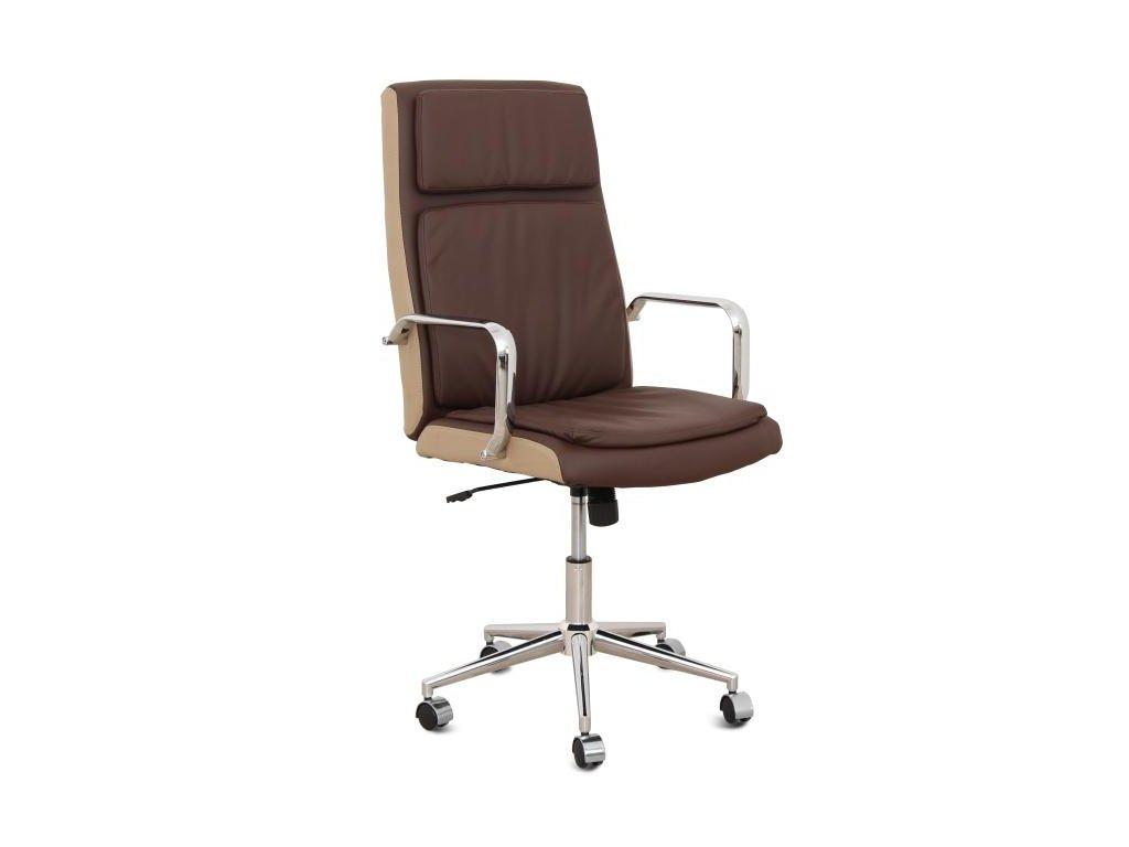 Kancelárske kreslo, tmavo hnedá / béžová ekokoža + chróm, Erny
