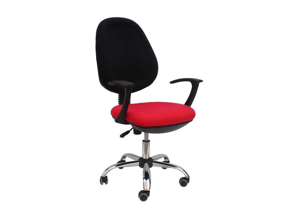Kancelárska stolička BOBAN 802 čierno červená s opierkami