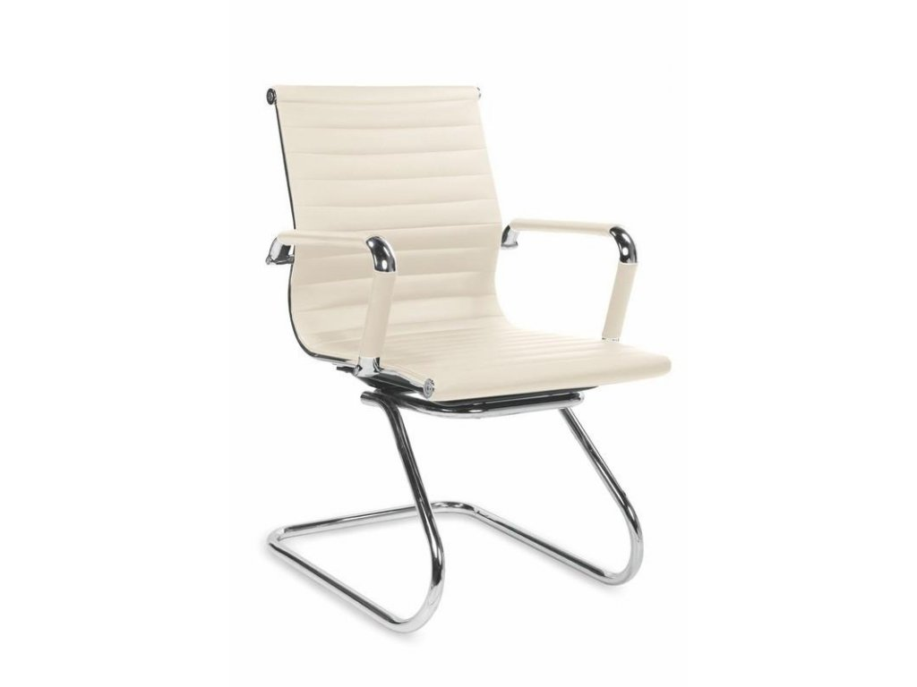 Kancelárska stolička PRESTIGE SKID krémové s opierkami