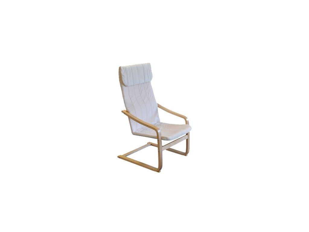 Kreslo relaxačné drevené - béžová-SKLADEM