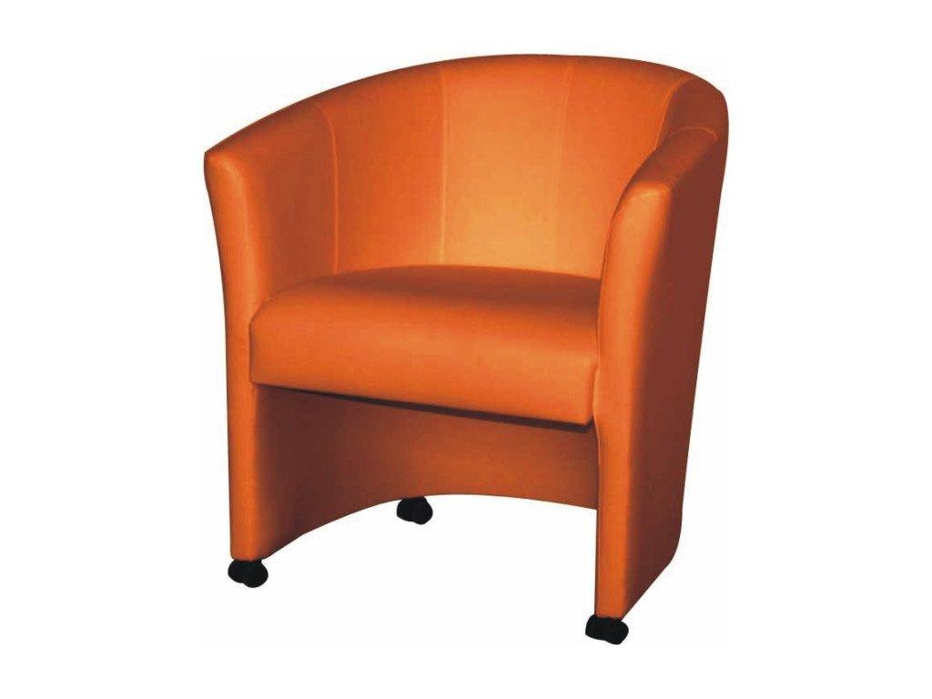 Křeslo na  kolečkách Eliza - oranžová/ekokůže