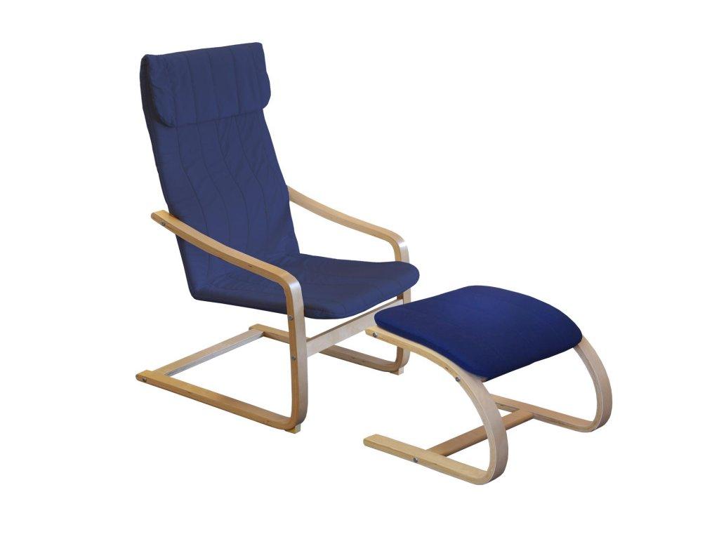 Kreslo relaxačné drevené s podnožkou - modré