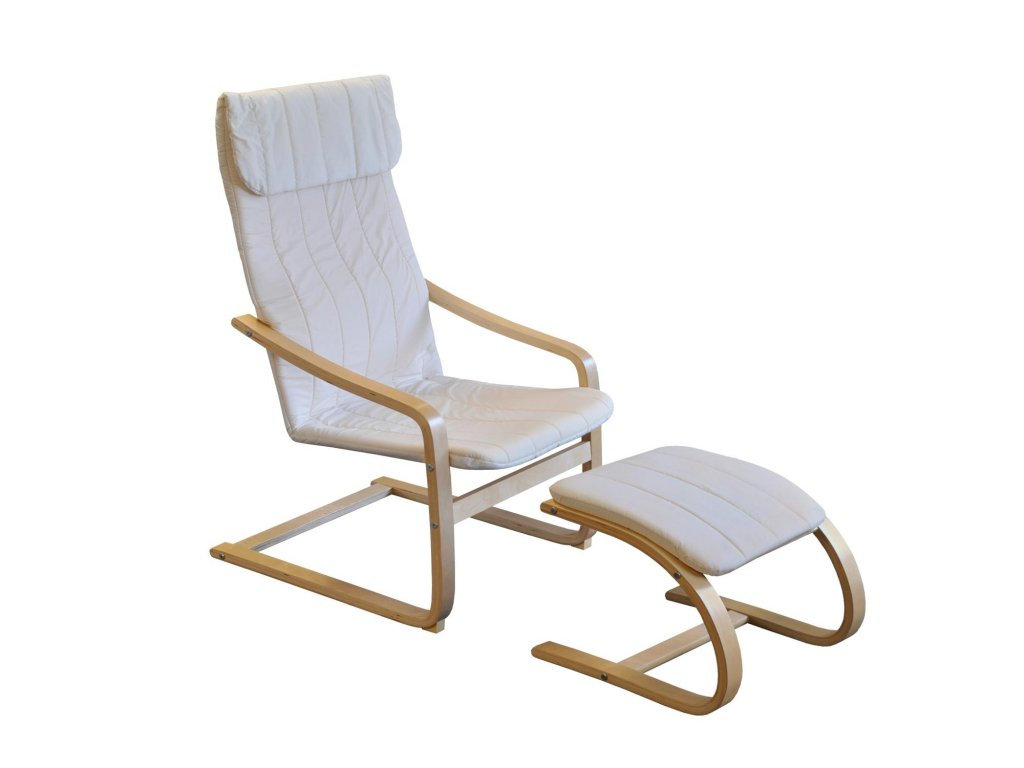Kreslo relaxačné drevené s podnožkou - béžová