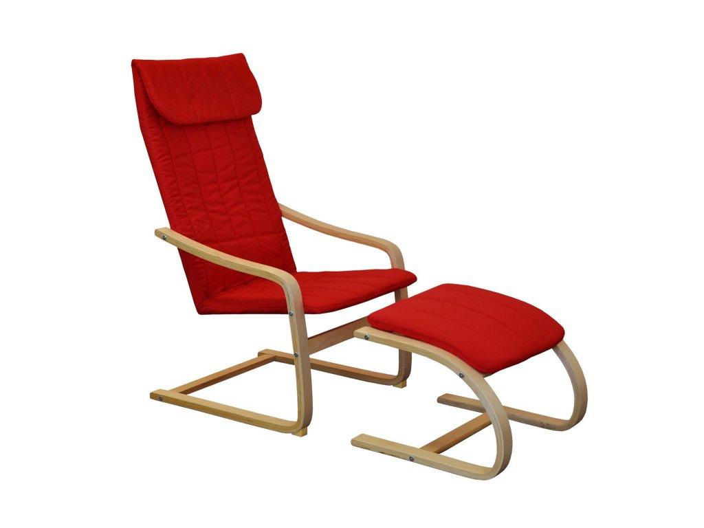Kreslo relaxačné drevené s podnožkou - červené