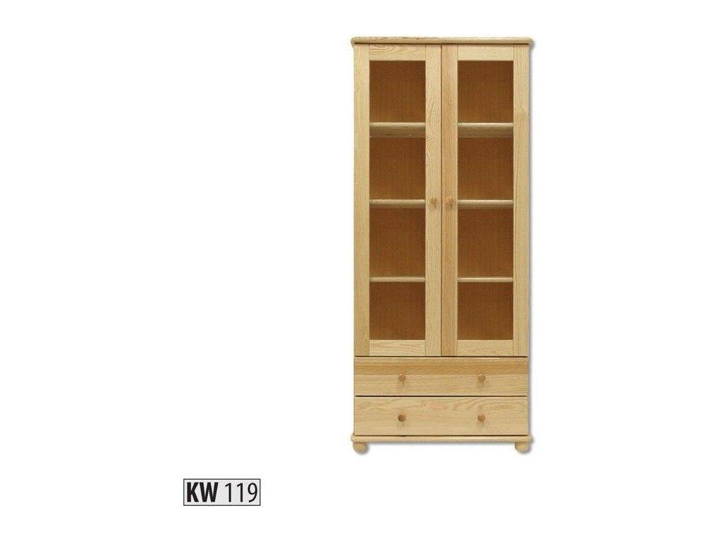 Drevená vitrína KW119 borovica masív výška 180 cm