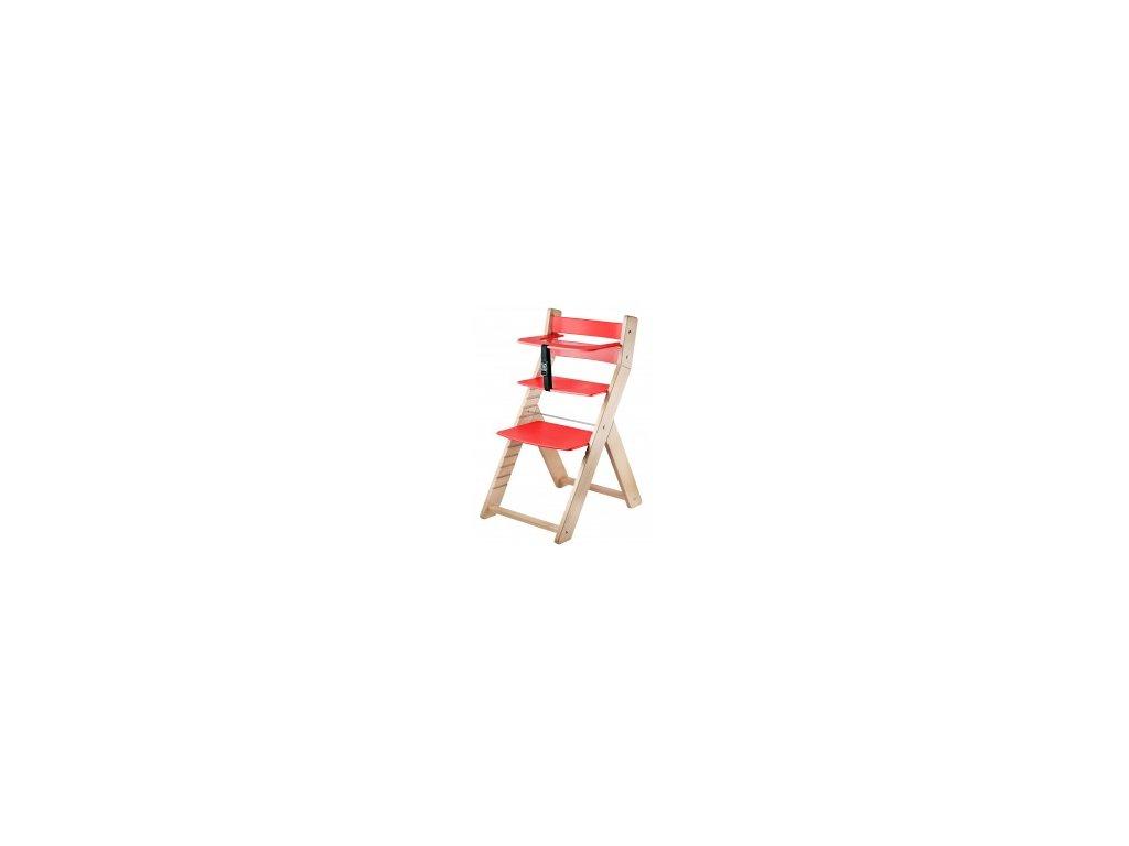 Jedálenská stolička LUCA -L04 prírodná / červená s ergonomickým sedením