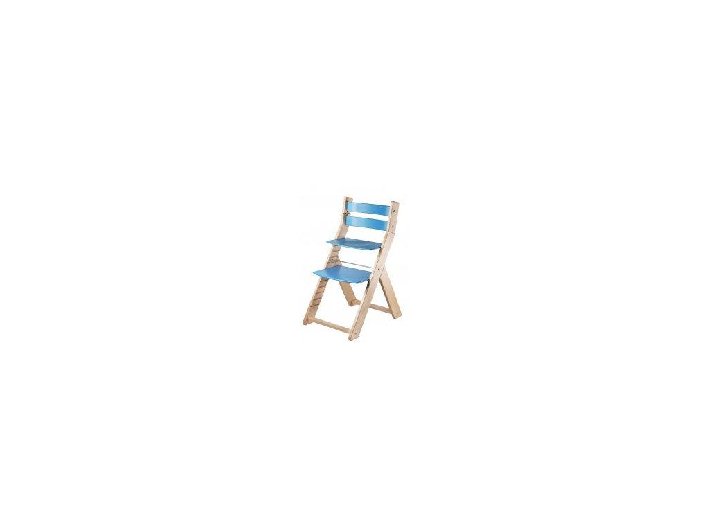 Jídelní rostoucí židle SANDY M03 natur/modrá s ergonomickým sedákem