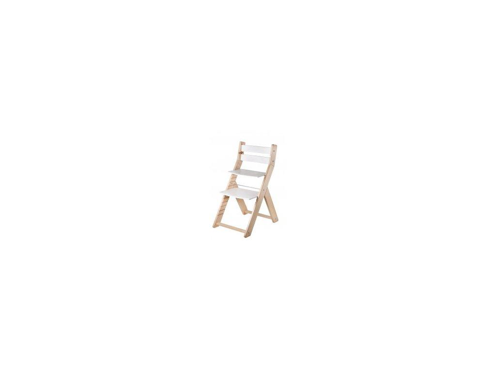 Prírodná / biela jedálenská stolička SANDY M07 s ergonomickým sedením
