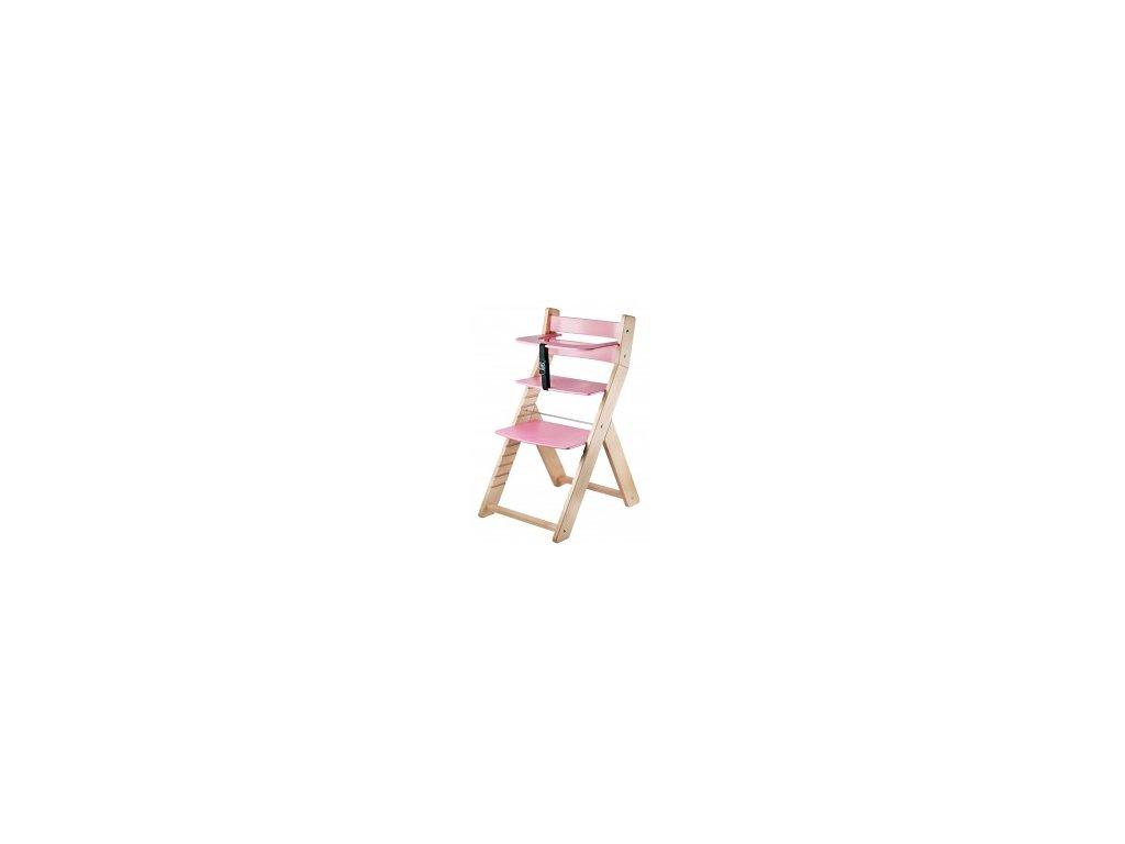 Jedálenská stolička LUCA-L01 prírodná / ružová s ergonomickým sedením