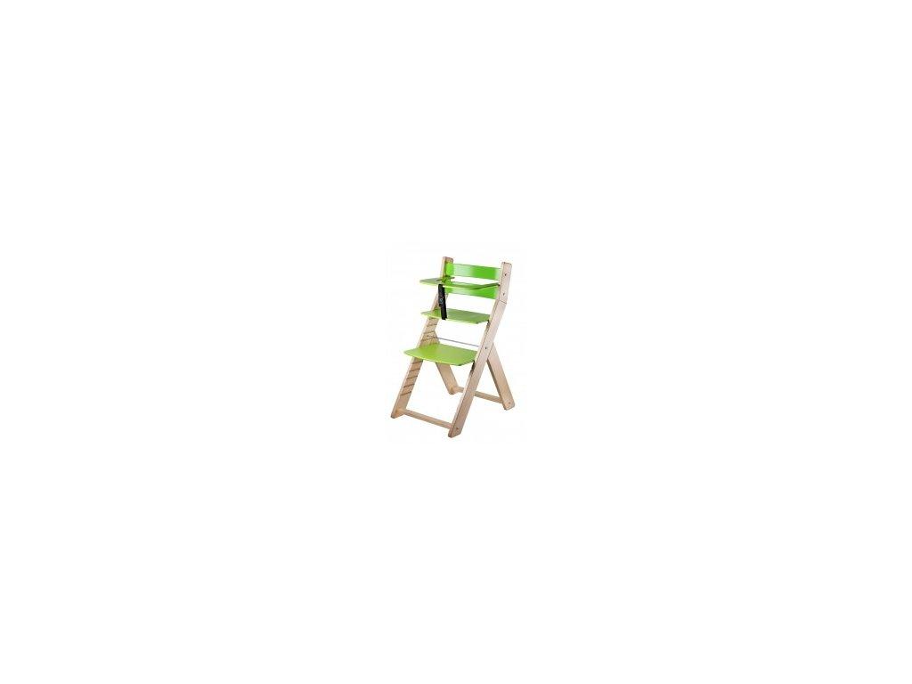 Jedálenská stolička LUCA-L02 prírodná / zelená s ergonomickým sedením