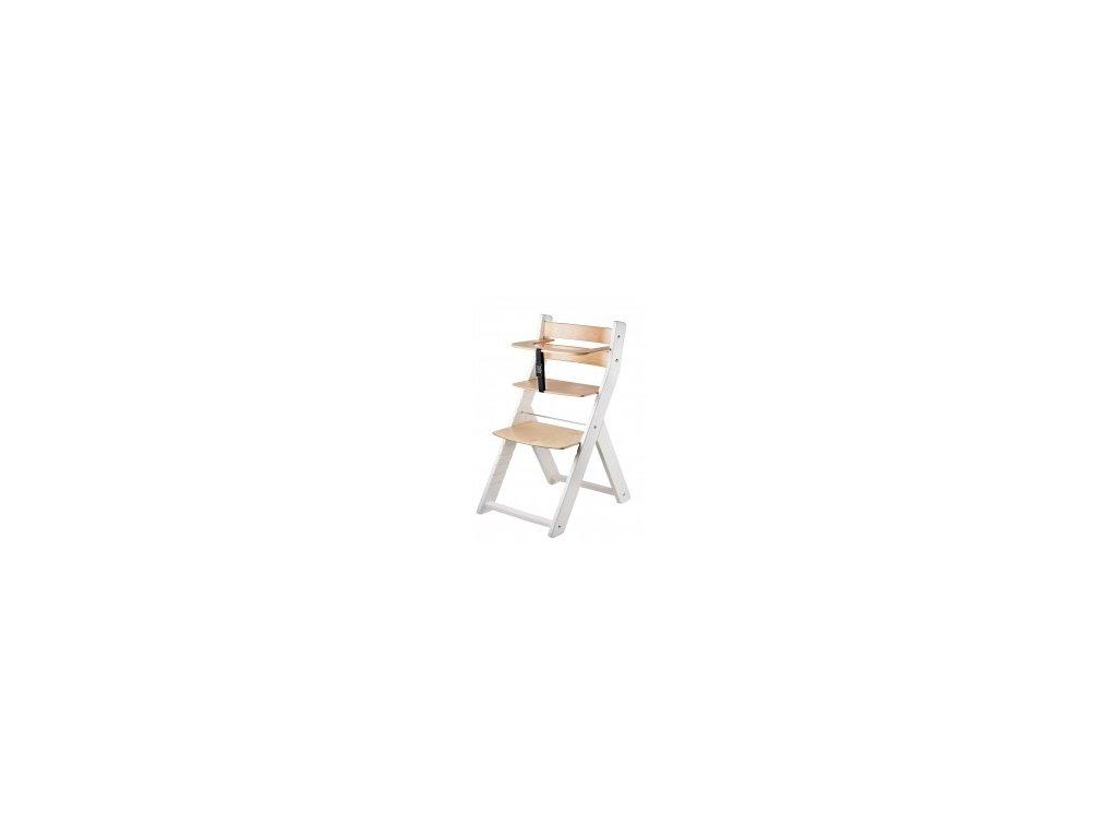 Jedálenská stolička LUCA KOMBI 001 biela / prírodná s ergonomickým sedením