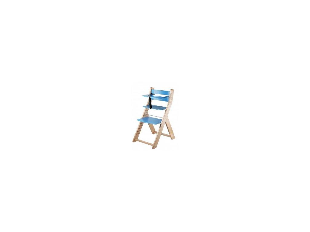 Jedálenská stolička LUCA-L03 prírodná / modrá s ergonomickým sedadlom