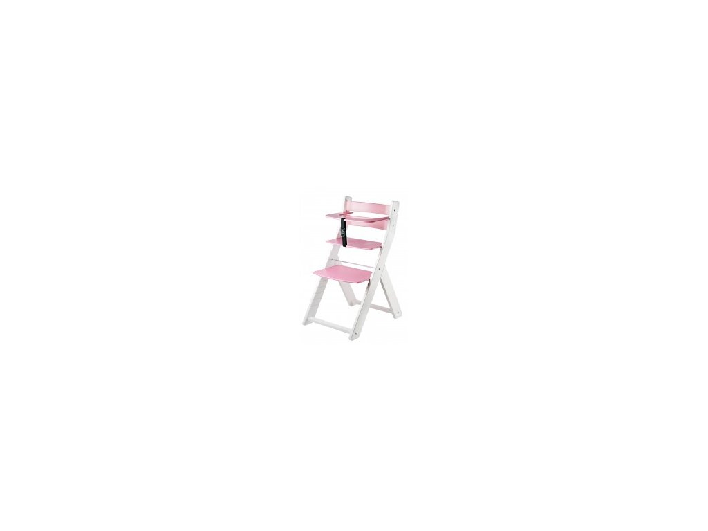 LUCA KOMBI L01 jedálenská stolička biela / ružová s ergonomickým sedením