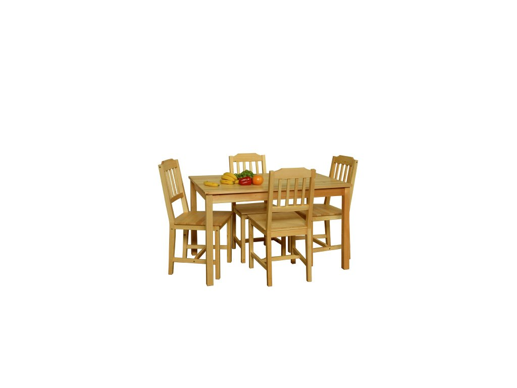 Jedalenský set z borovicového masívneho stola + 4 stoličky