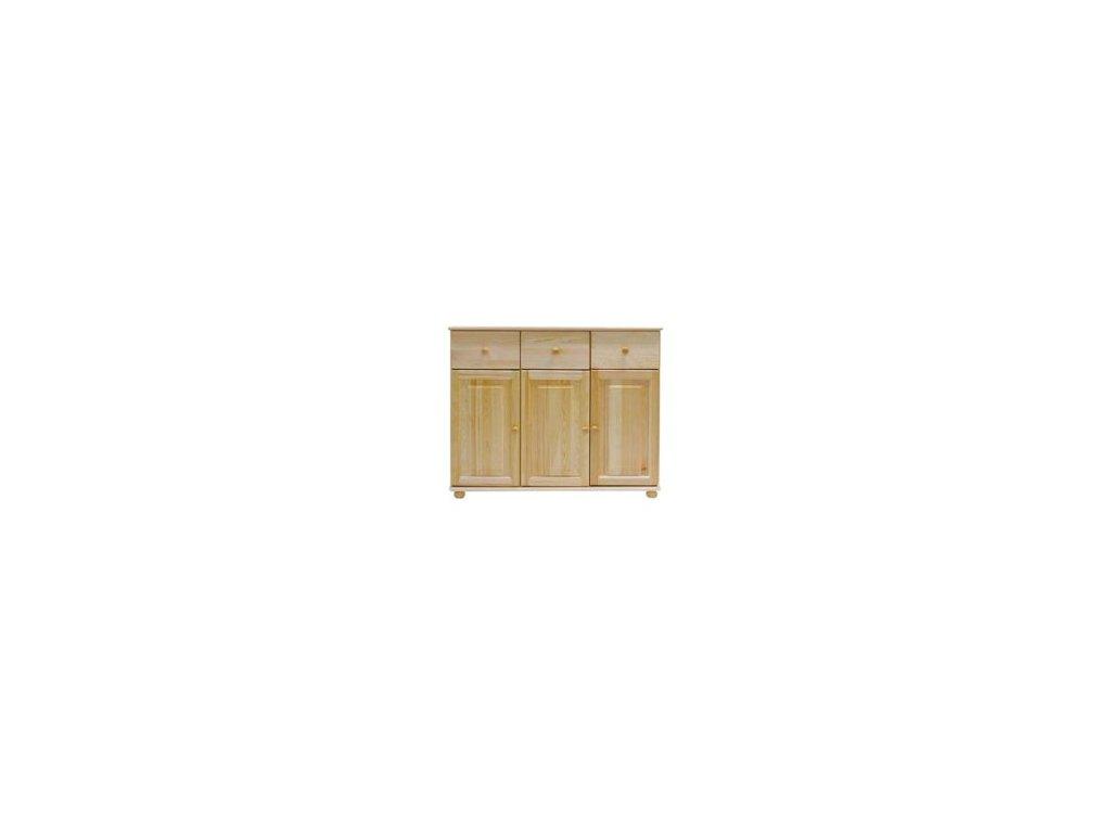 Drevená komoda MC41 s 3 zásuvkami / 3 dverami borovica masív