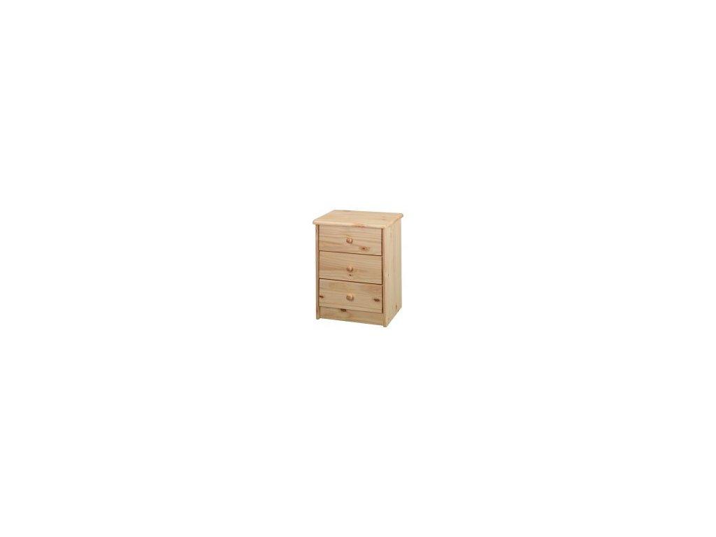Drevená komoda  - 3 zásuvky borovice masív
