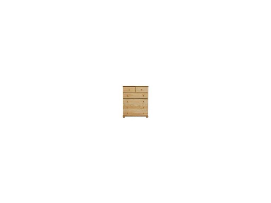 Drevená komoda 6 zásuviek KD 113 borovica masív