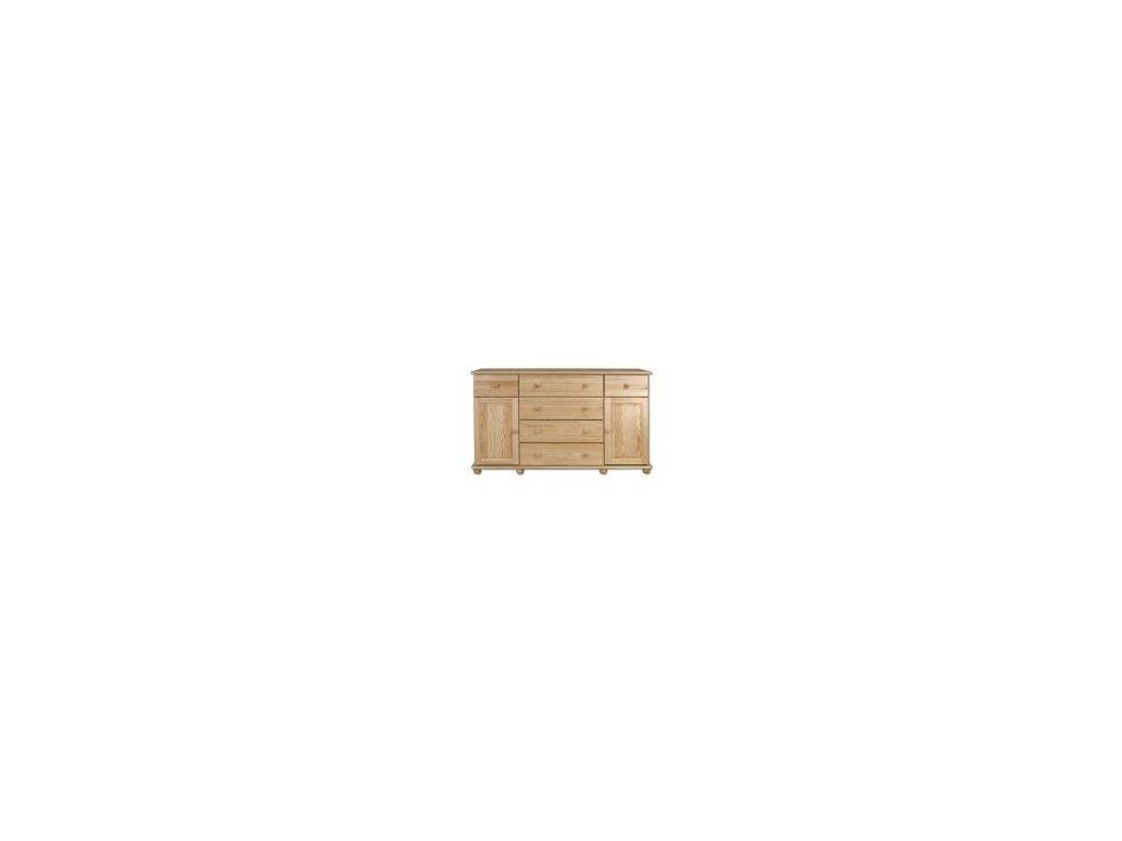 Drevená komoda so 6 zásuvkami a dverami KD 124 borovica masív