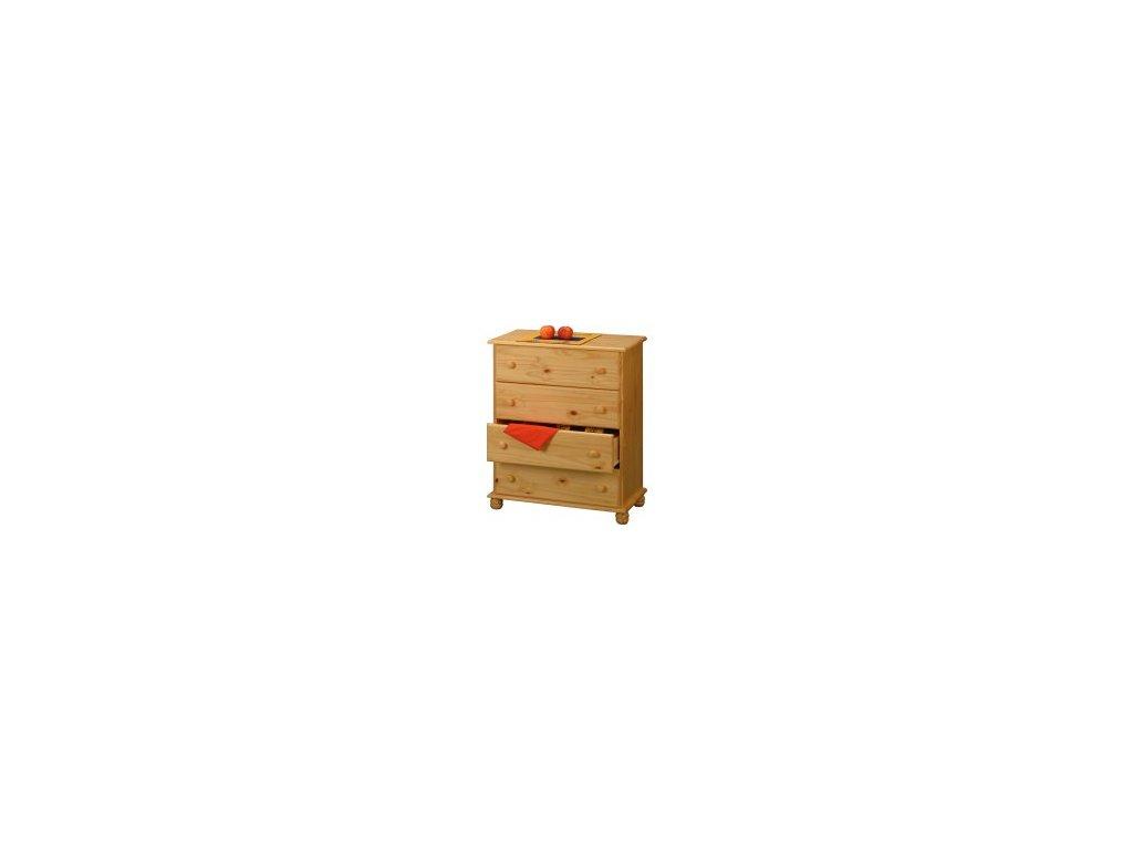 Drevená komoda  4 zásuvky