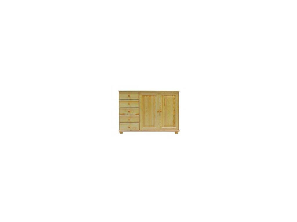 Masívna komoda MC38 - 5 zásuviek / 2 dvere borovica masív
