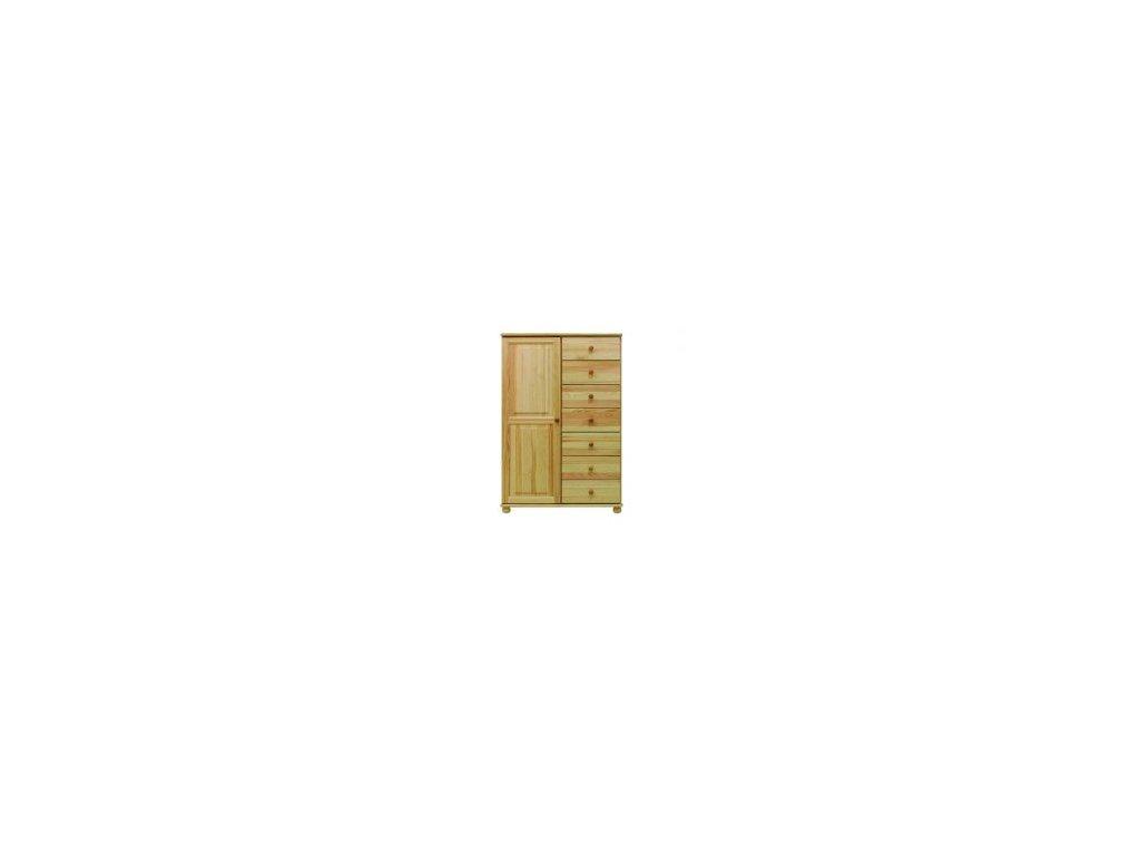 Drevená komoda  MC74 7 zásuviek / masívna borovica