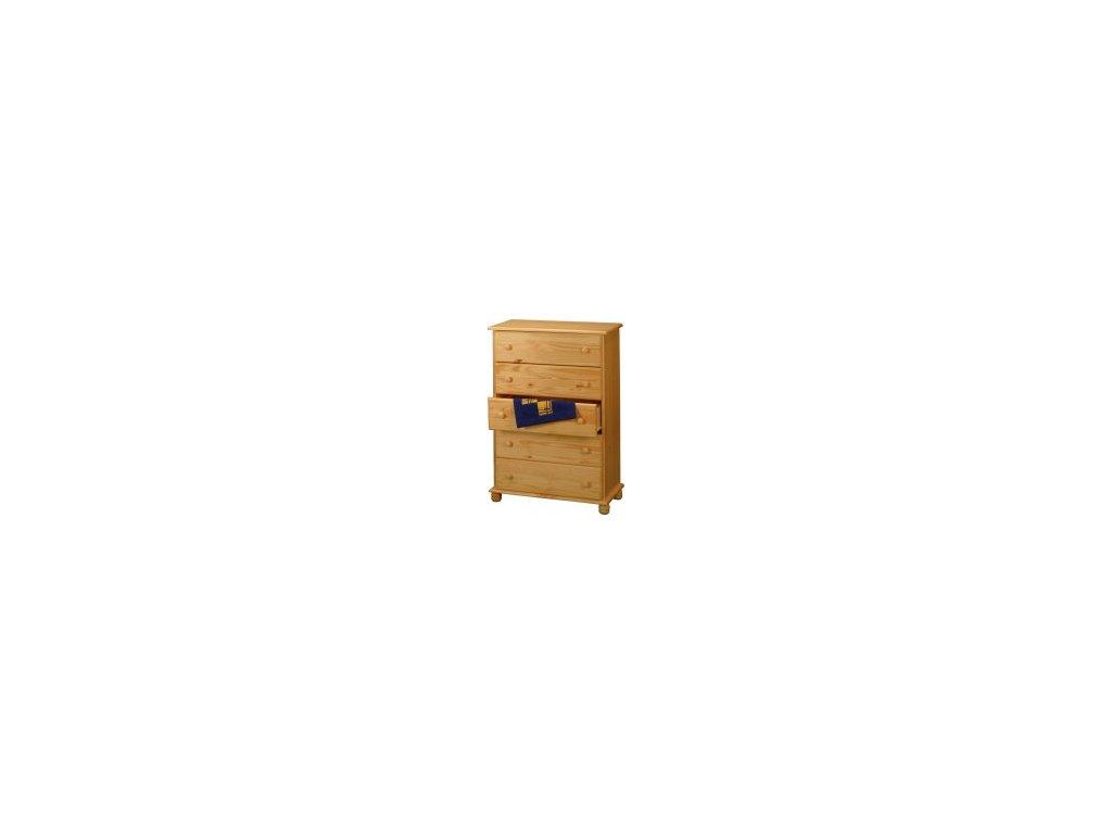Masívna drevená komoda  5 zásuviek