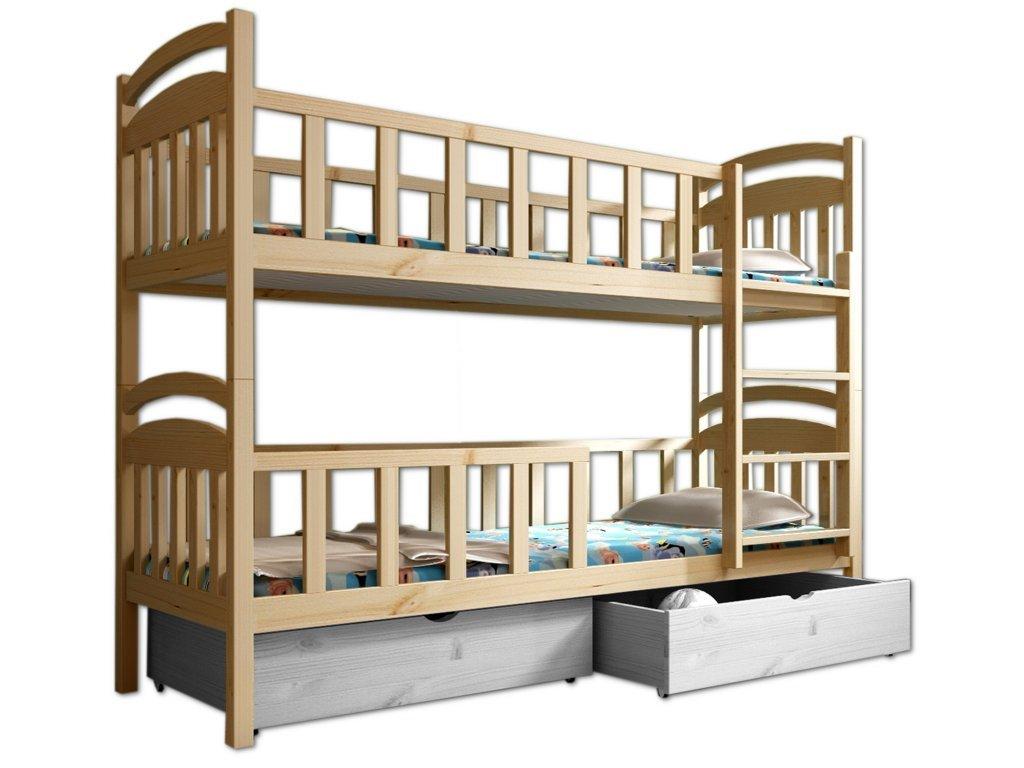 Poschodová posteľ POKER 006 90x200 cm borovica masív