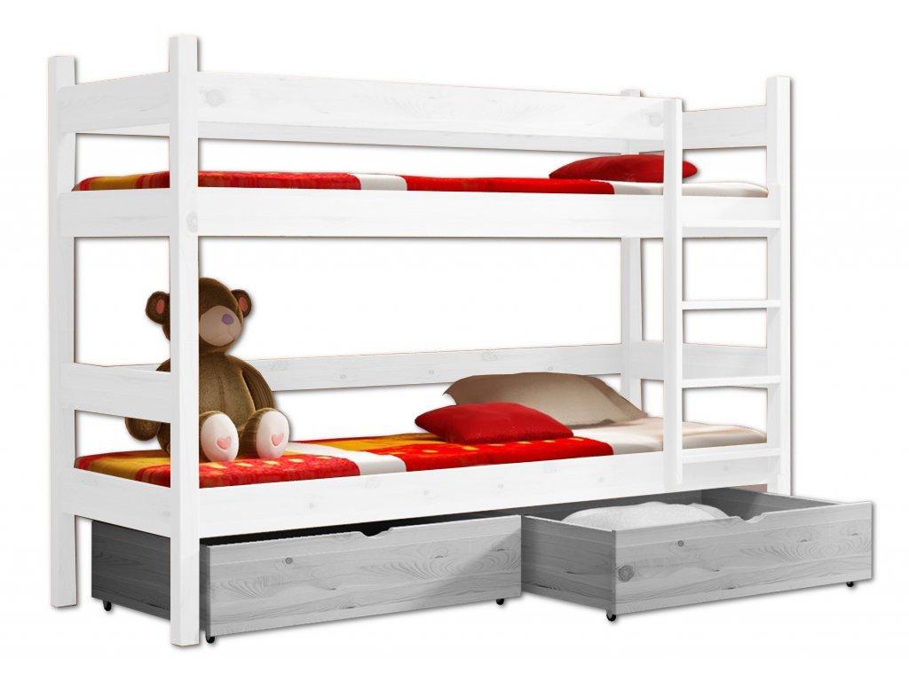 Poschodová posteľ PETR 002 - 90x200 cm borovica masív - BIELA