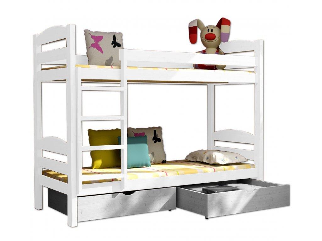 Poschodová posteľ PATRICIE 004 90x200 cm borovica masív - BIELA