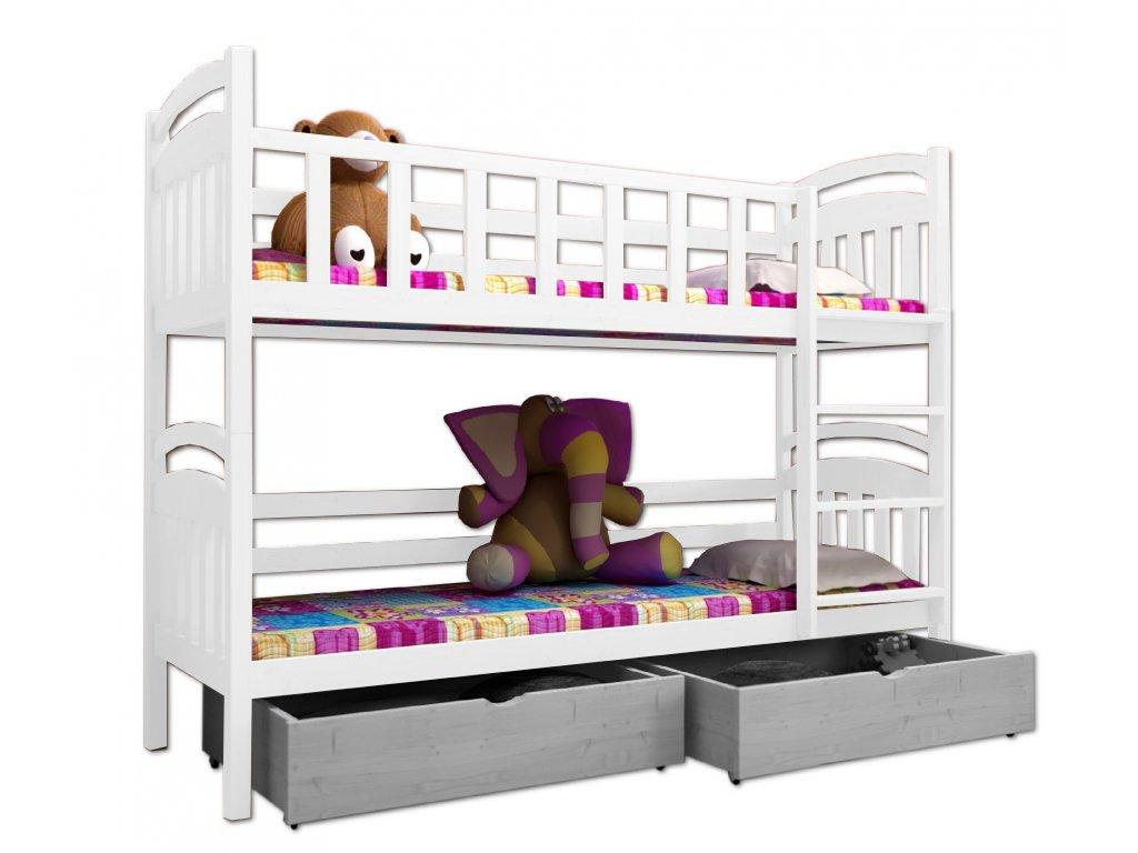 Poschodová posteľ PAVEL 005 90x200 cm borovica masív - BIELA