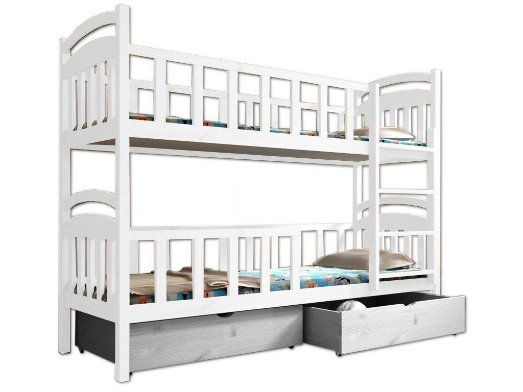 Poschodová posteľ PAULA 007 90x200 cm borovica masív - BIELA