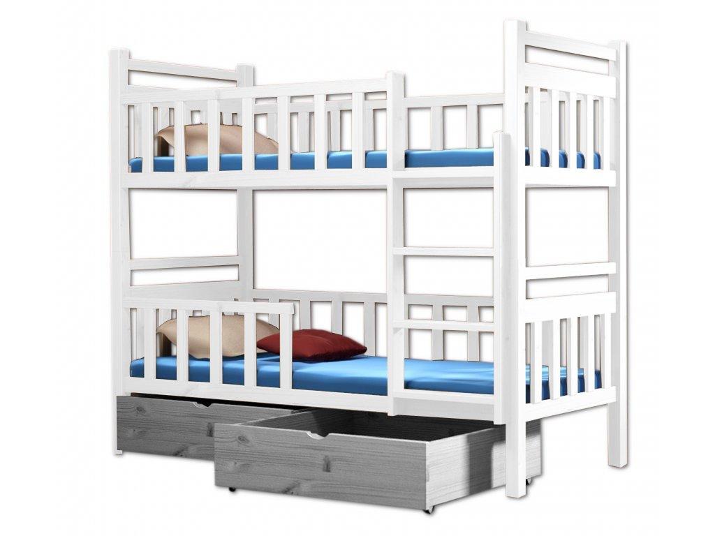 Poschodová posteľ PAKO 009 90x200 cm borovica masív - BIELA