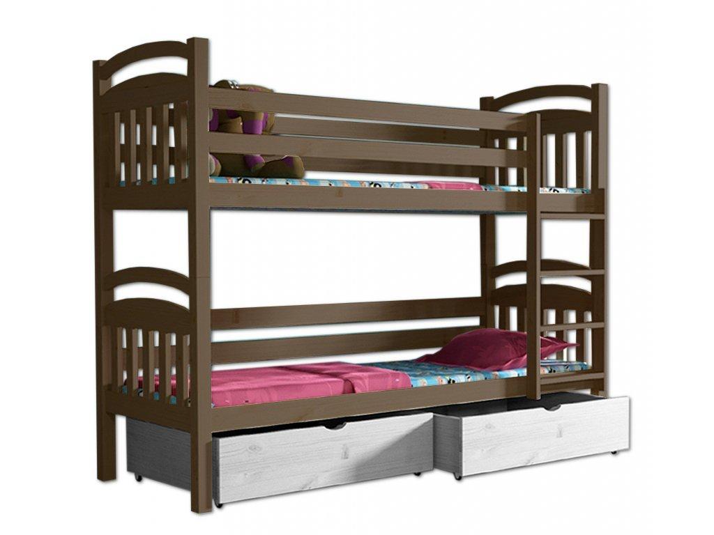Poschodová posteľ PAVLA 003 90x200 cm borovica masív - DUB