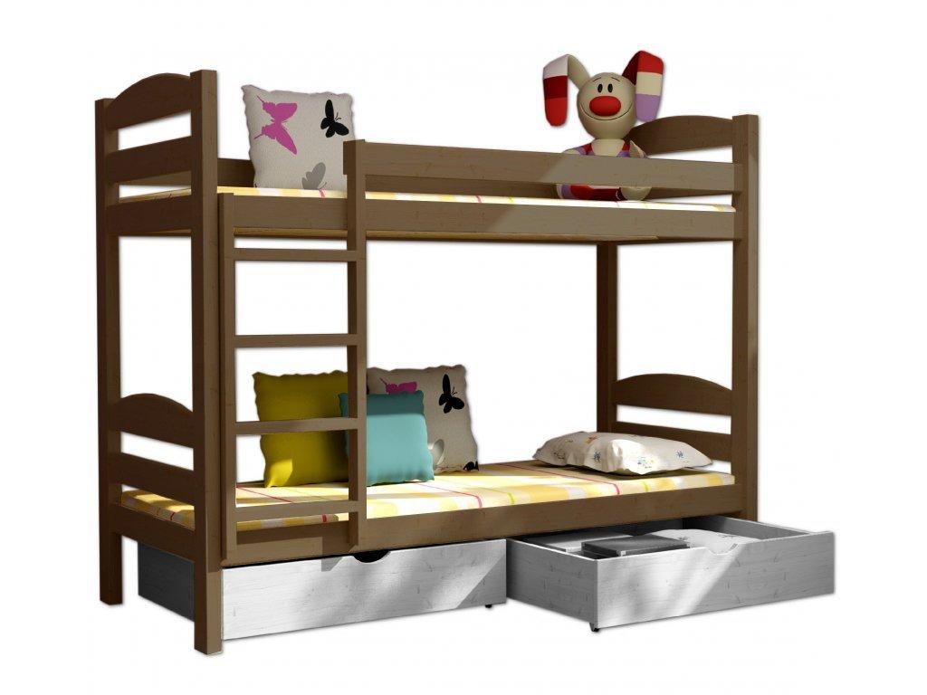 Poschodová posteľ PATRICIE 004 90x200 cm borovica masív - DUB