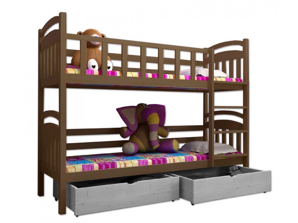 Poschodová posteľ PAVEL 005 90x200 cm borovica masív - DUB