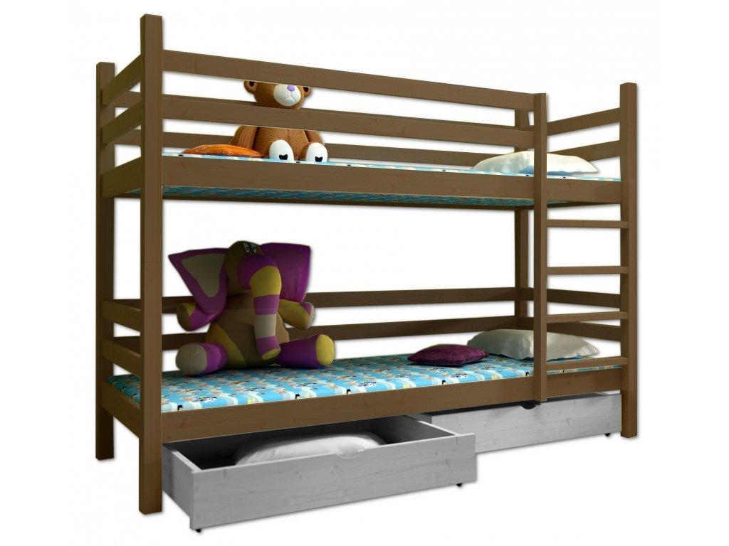 Poschodová posteľ PAUL 008 90x200 cm borovica masív - DUB