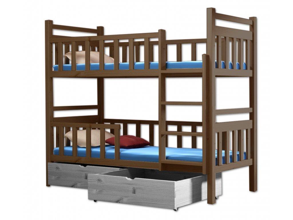 Poschodová posteľ PAKO 009 90x200 cm borovica masív - DUB