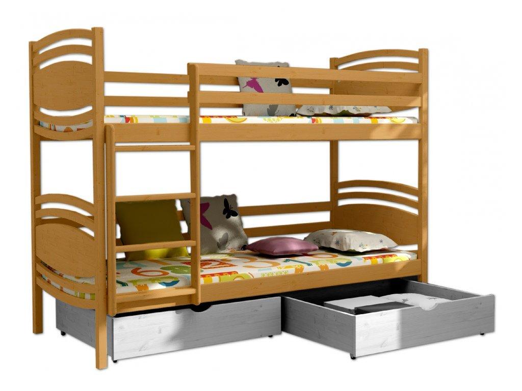 Poschodová posteľ PATRIK 001 90x200 cm borovica masív - JELŠA