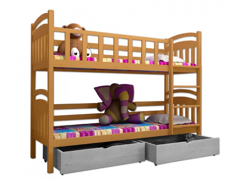 Poschodová posteľ PAVEL 005 90x200 cm borovica masív - JELŠA