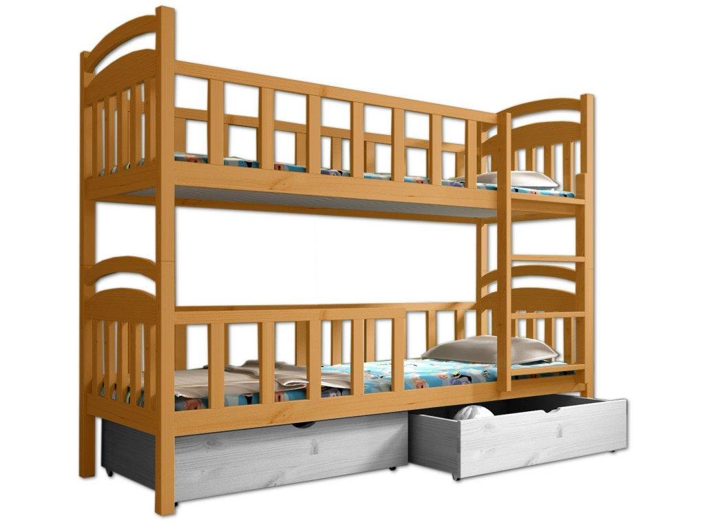 Poschodová posteľ PAULA 007 90x200 cm borovica masív - JELŠA