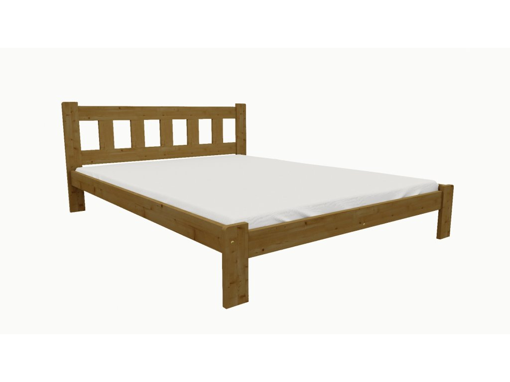 Drevená posteľ KV003 90x200 borovica masív - DUB