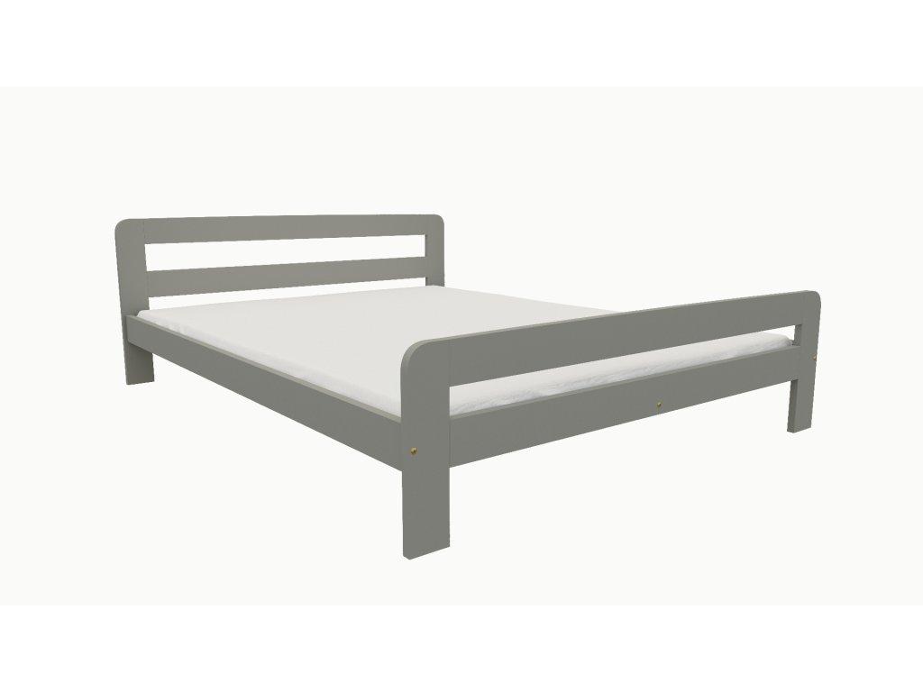 Drevená posteľ KV009 90x200 borovica masív - SIVÁ